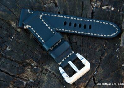 Cinturino artigianale 2 pezzi pelle liscia nera