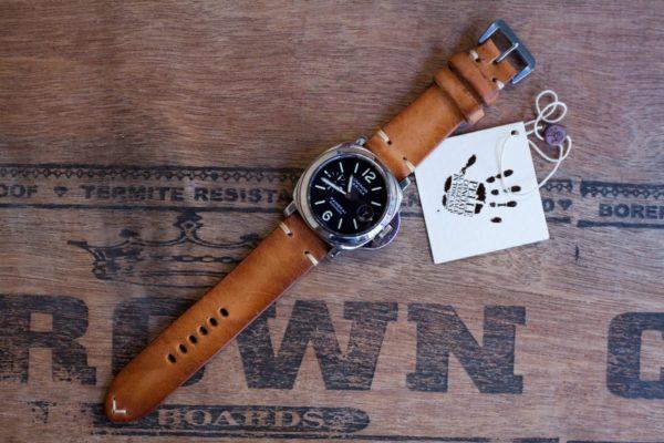 Cinturino-Panerai-artigianale-Cognac-orologio