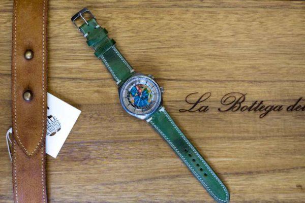 cinturino artigianale verde smeraldo orologio